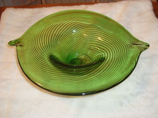 "Murano Glass Art Deco Green With Brown Swirls Bowl W/ Handles 13.25"" Wide"