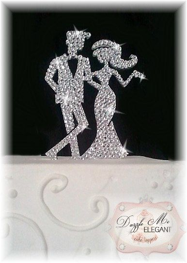 Elegant Chic Bride And Groom Crystal Cake Topper By TheCakeTopperShoppe, $45.99