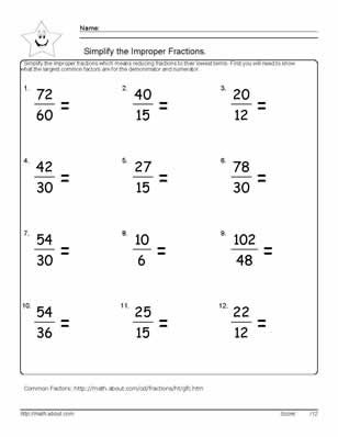 math worksheet : 9 worksheets on how to simplify fractions  improper fractions  : Worksheets On Simplifying Fractions