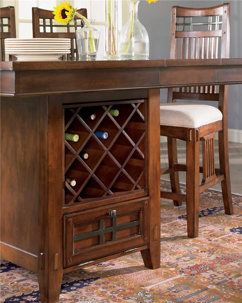 vantana seven piece counter height table and chair set by broyhill pub table also has a wine rack in the base so that you can both store and show off your wine
