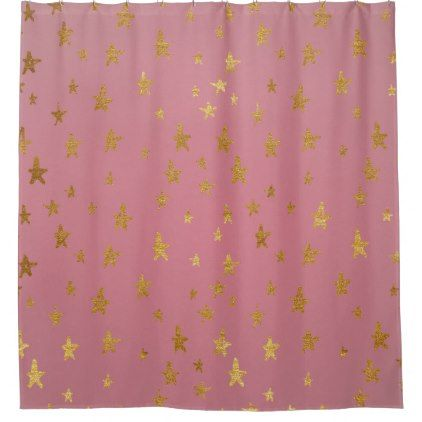 Pink Passion Golden Stars Shower Curtain Zazzle Com Star