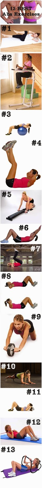13 Best Abs Exerciises by Sassy Smidgens Fitness  If you've been working it but your abs are getting any better then this is the article for you!