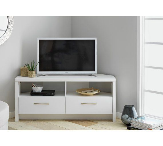 Collection Venice 2 Drawer Large Corner Tv Unit White At Argos Co Uk Visit To Online For Entertainment Units And Cabinets