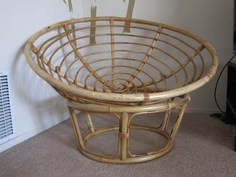 Elegant Papasan Chair Blue Cushion W/bamboo Frame