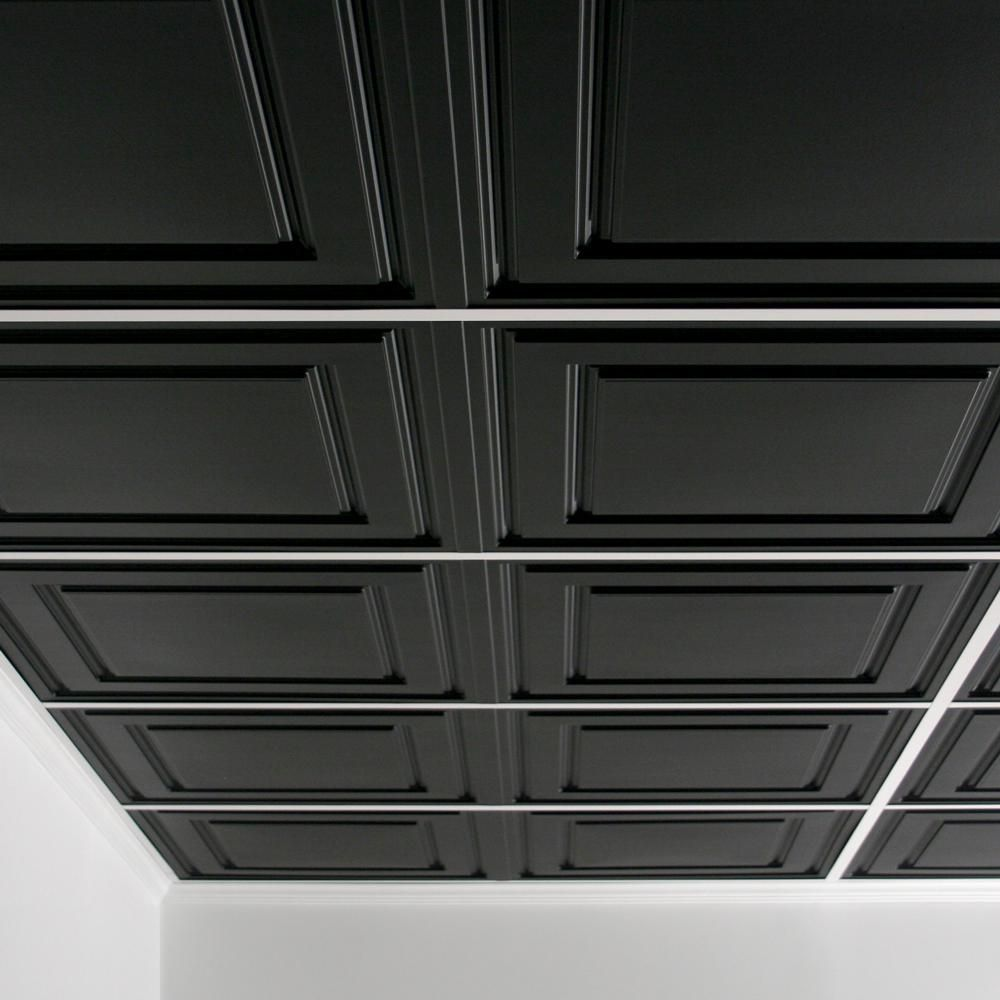 Ceilume Stratford Feather Light Black 2 Ft X 4 Ft Lay In Ceiling Panel Case Of 10 V1 Str 24bko 10 The Home Depot In 2020 Ceiling Panels Black Ceiling Grid Decorative Ceiling Panels