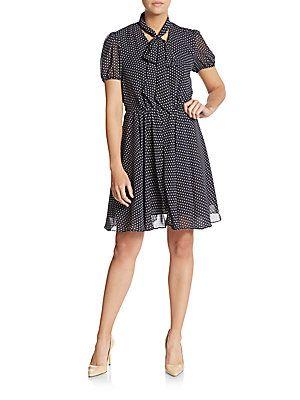 Betsey Johnson Polka Dot Chiffon Dress - Navy - White - Size