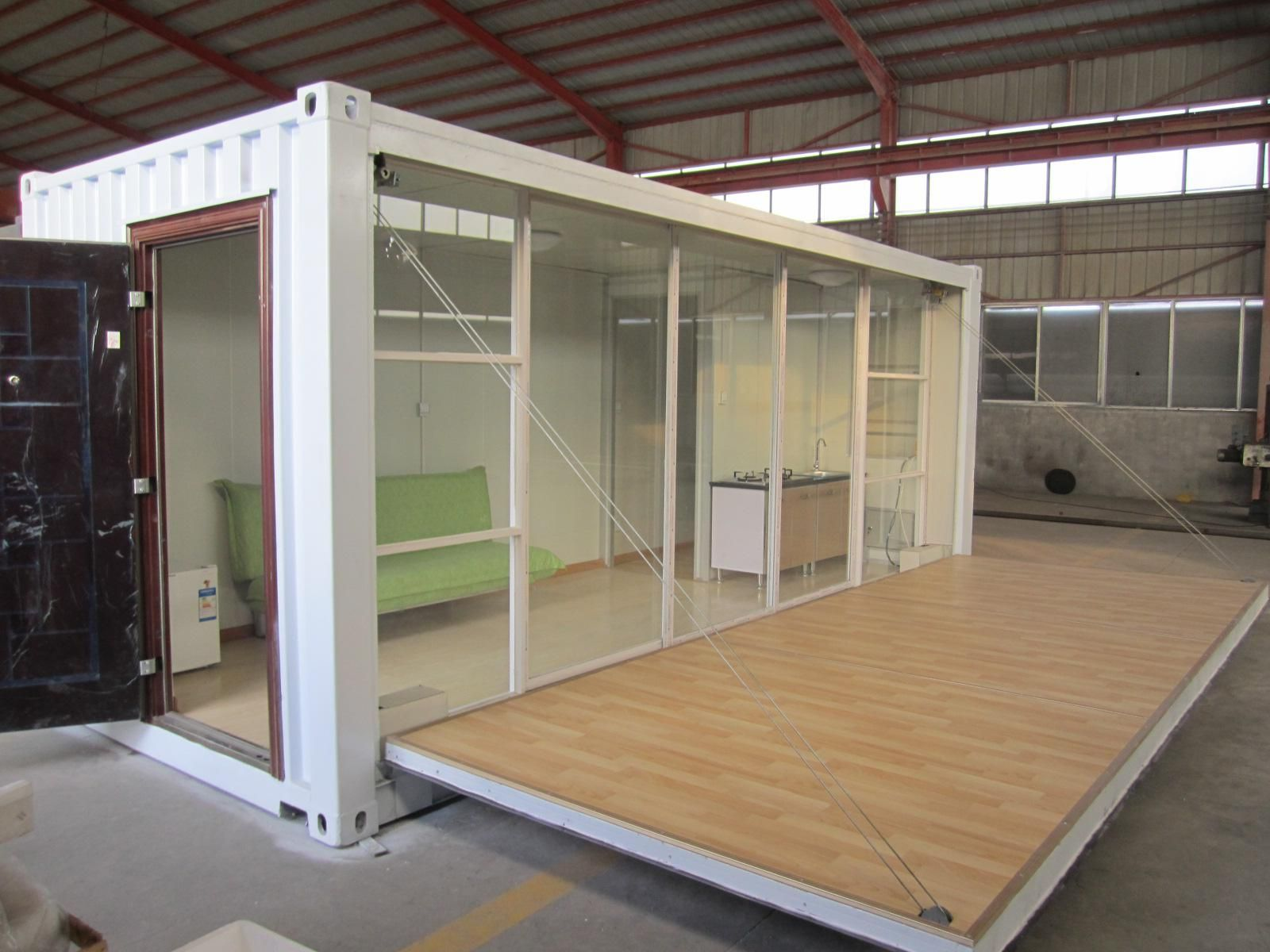 20ft glass wood modified container house -classroom/office idea
