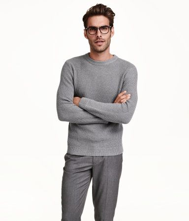 a084ddfe83 Chunky, long-sleeved, waffle-knit, cotton sweater in grey. | H&M For Men