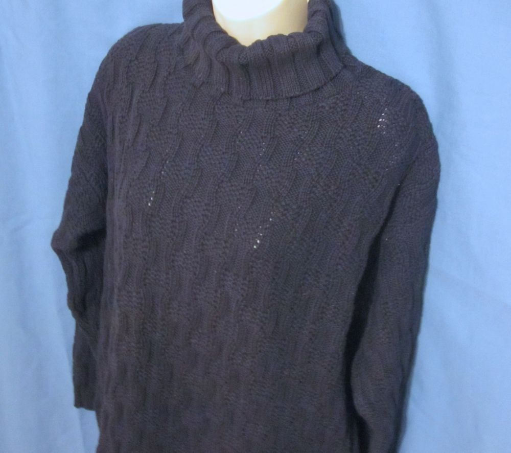 Mens Woolrich Navy Blue Turtleneck Sweater Cable Knit Small Rugged ...
