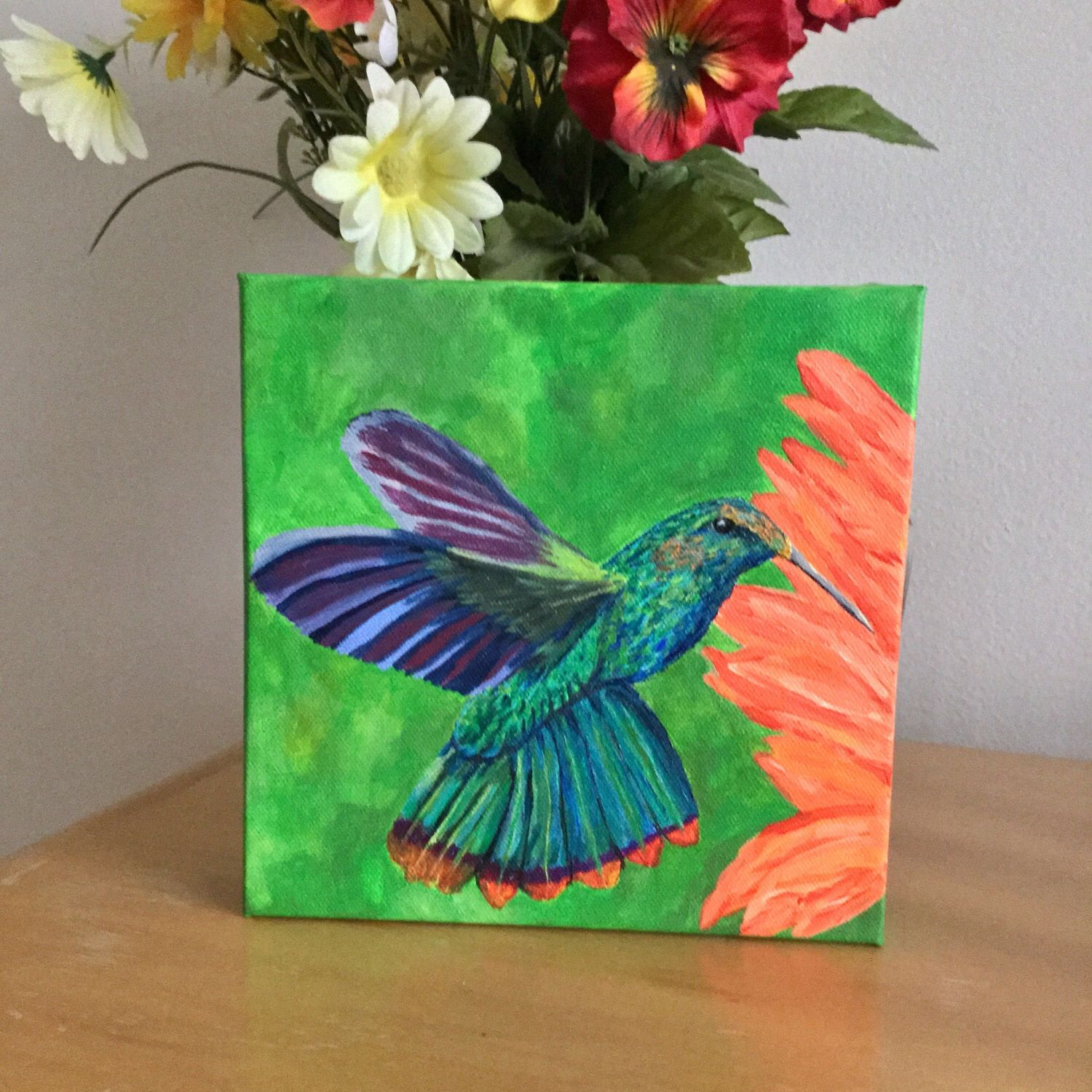 Stunning Original Hummingbird Acrylic Painting On Gallery Deep Canvas Beautiful