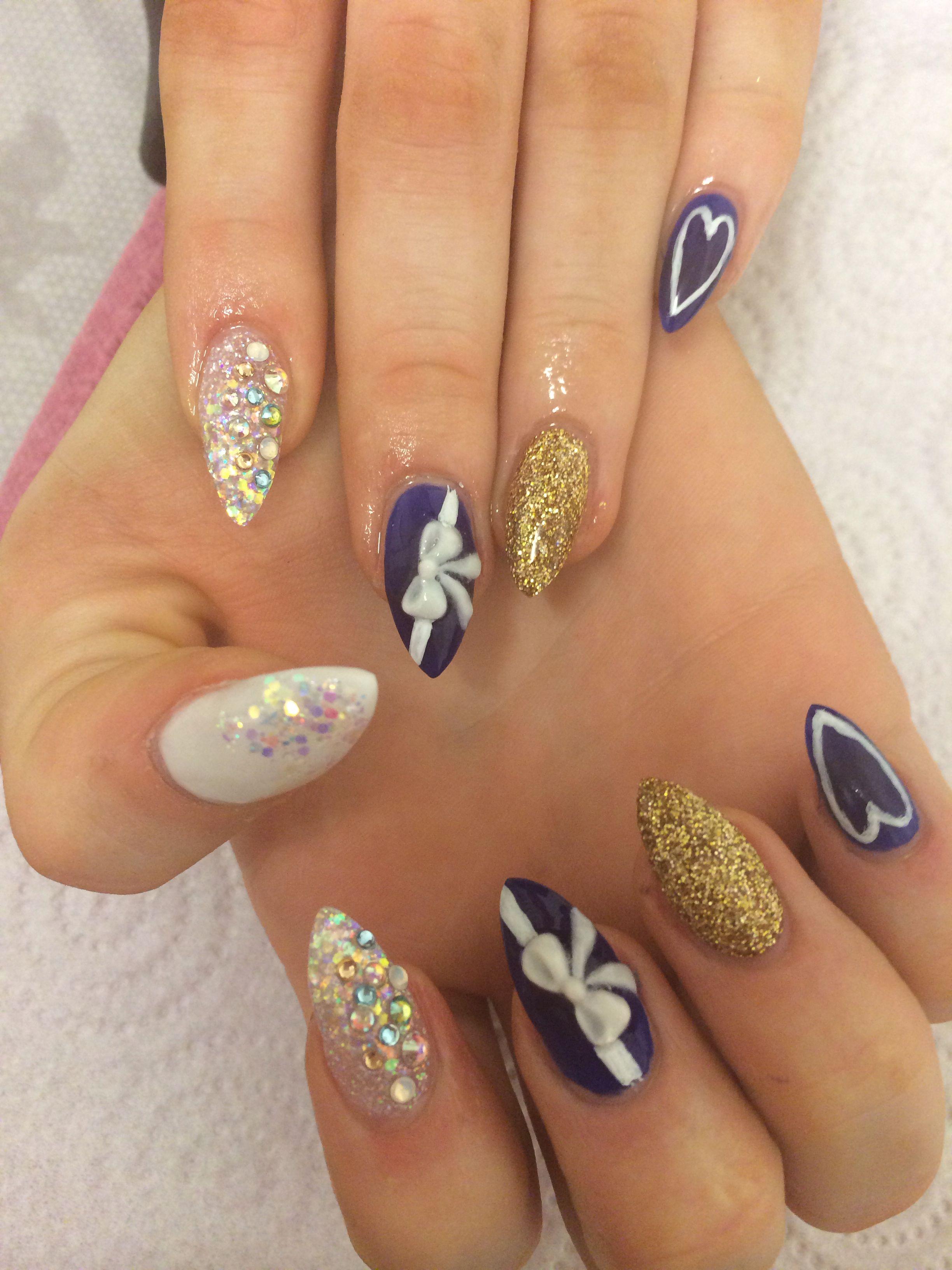 Dark blue tiffany stiletto nails | MY NAIL ART OBSESSION ...