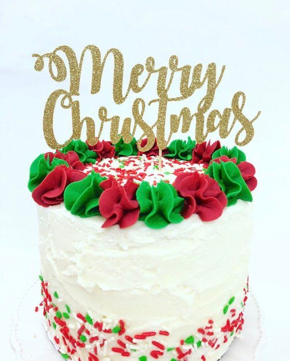 Christmas Cake Toppers.Merry Christmas Cake Topper Holiday Party Christmas Cake