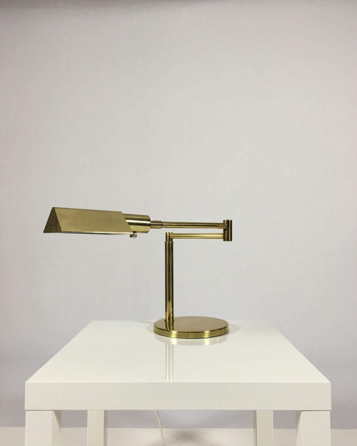 Vintage koch lowy omi brass table lamp swing arm pharmacy reading vintage koch lowy omi brass swing arm desk reading lamp mid century modern mozeypictures Choice Image