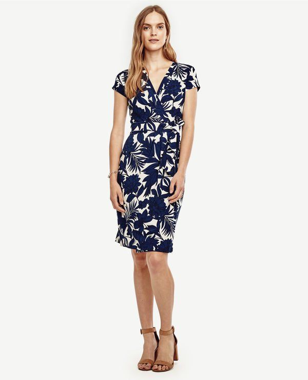 c9a87082f9f white and navy floral wrap dress for beach wedding guest or mother of the  bride