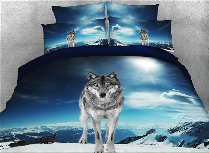 4 Piece Luxury Set Mountain Wolf Wolves Print Soft 3D Set Black White King Size