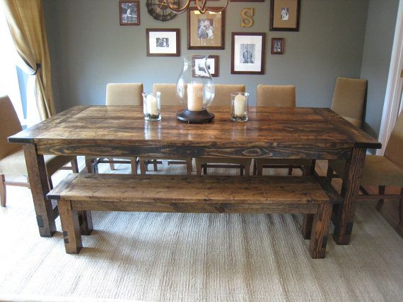 Large Country Farmhouse Table with matching bench by