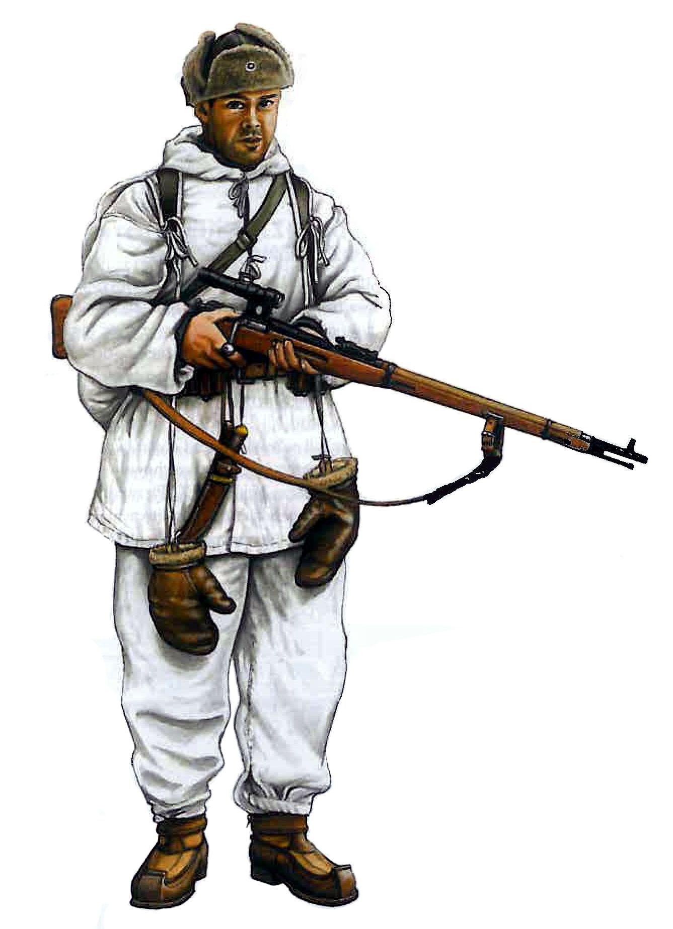 Finnish Sharpshooter During The Winter War Of 1940 World