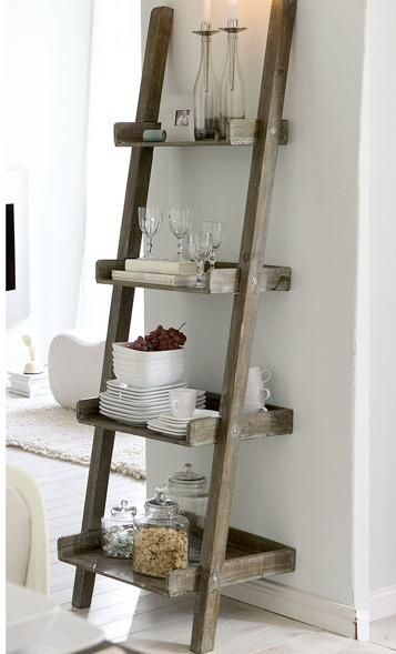 ladder as kitchen storage