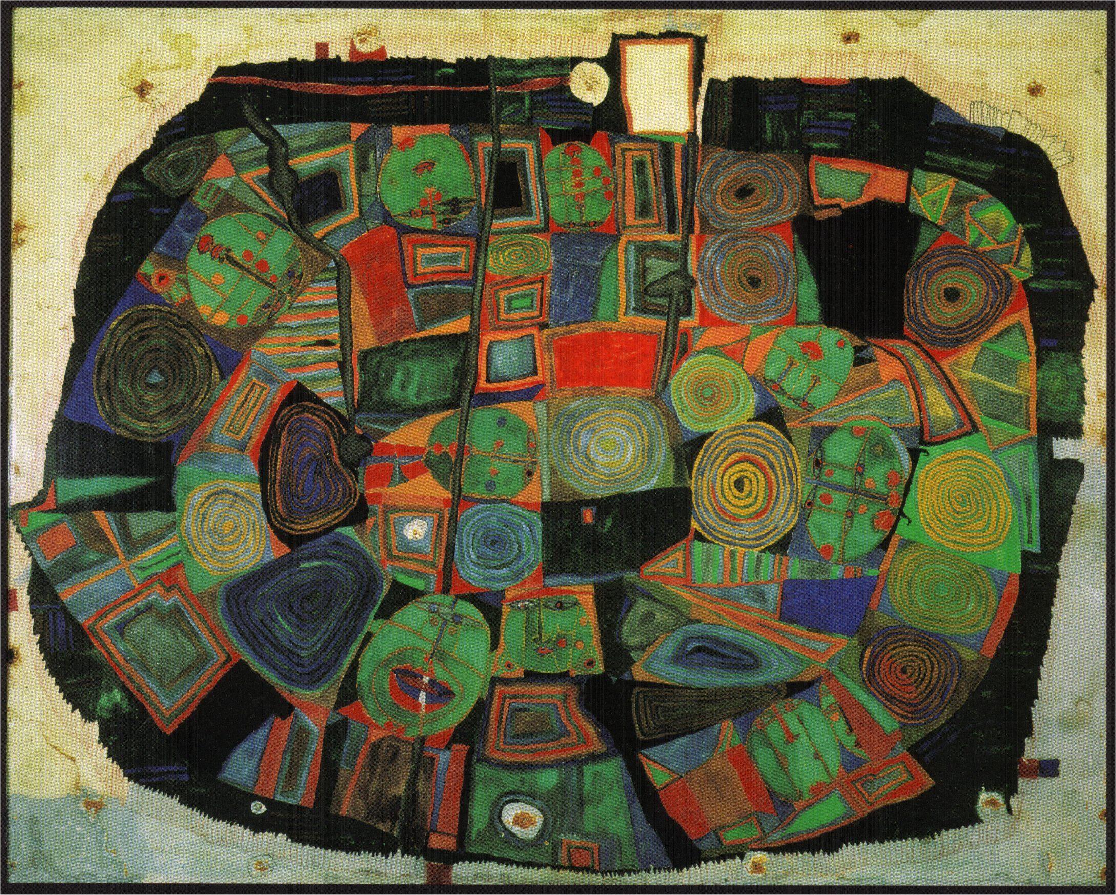 Hundertwasser 1953 Le Jardin Des Morts Heureux Art Gallery Graphisme Art