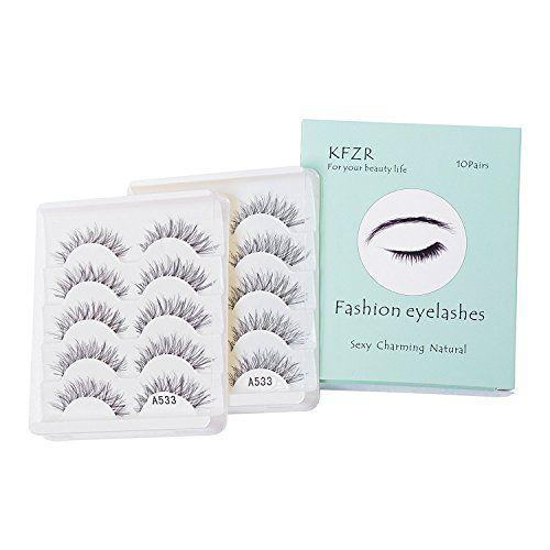 KFZR 10 Pairs False Lashes Eyelashes Natural Look Handmade