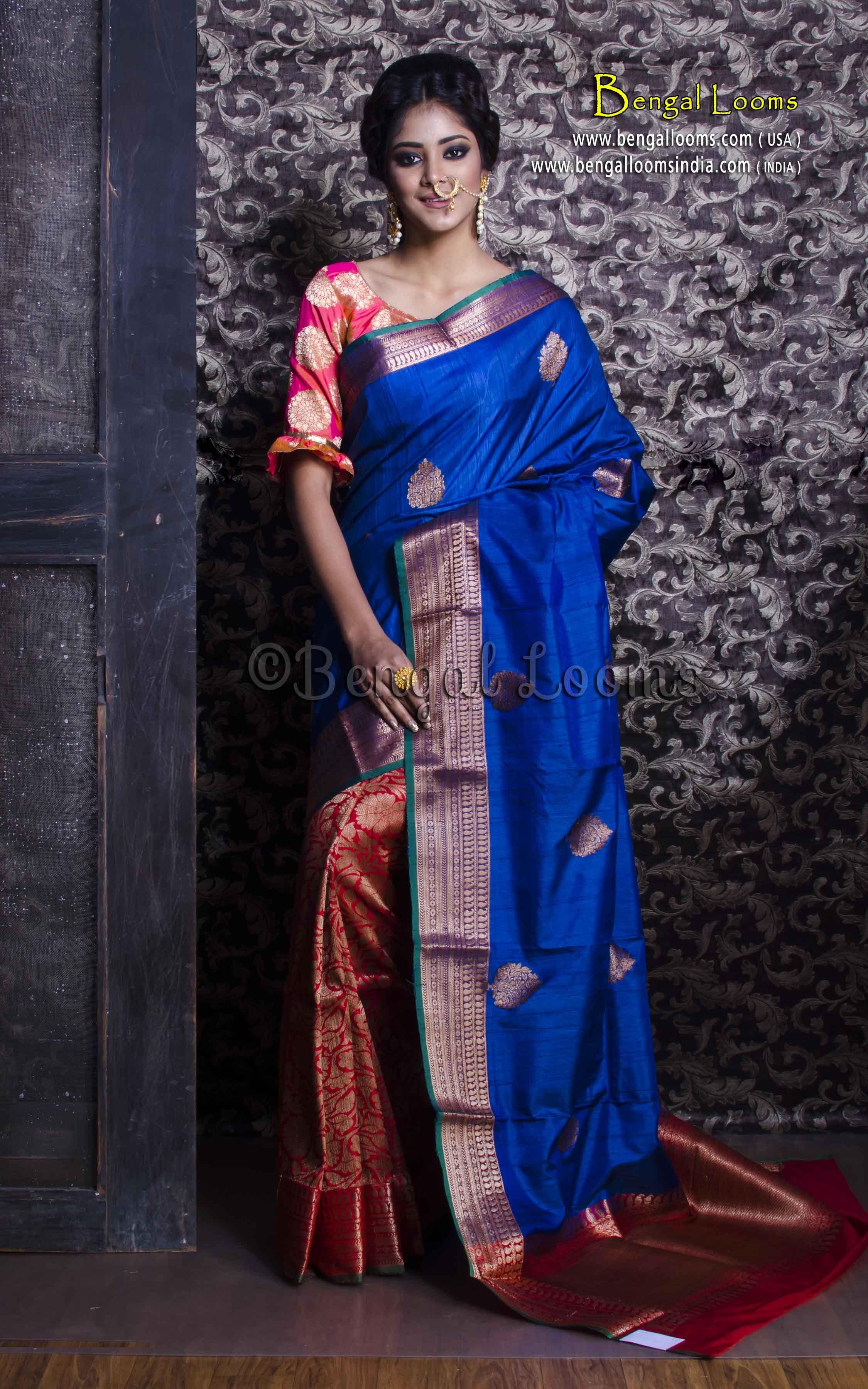 1b15f6ee11b1a Pure Handloom Patli Pallu Tussar Banarasi Saree in Royal Blue and ...