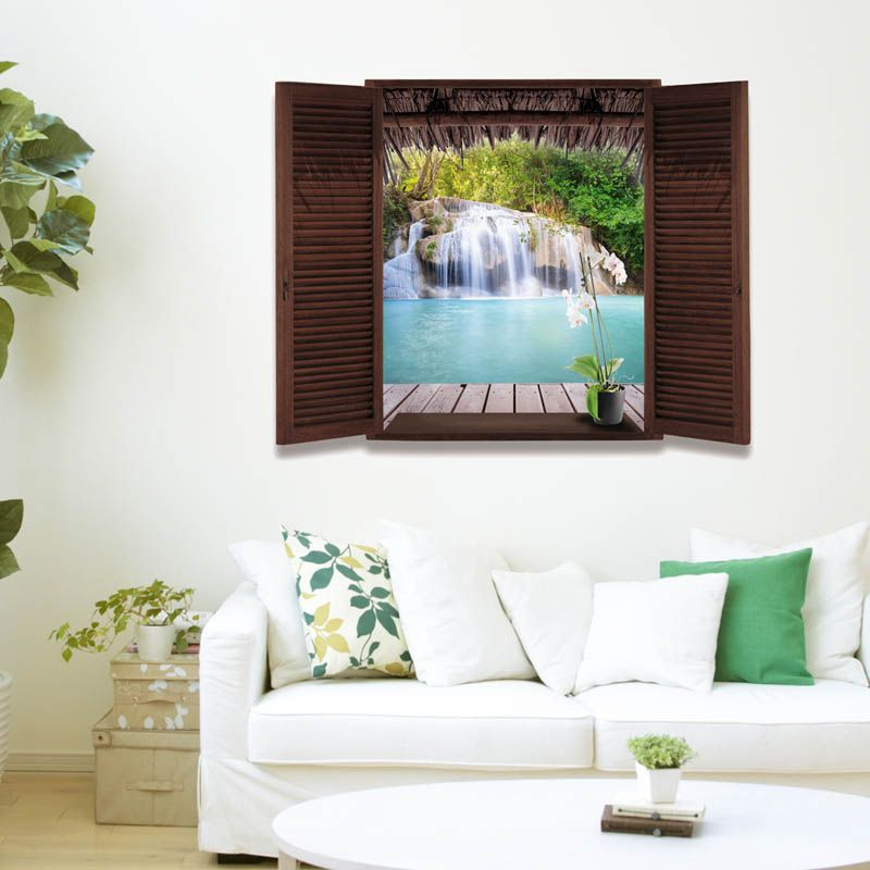 3D Wall Sticker Home Decal Waterfall 3D Window View Wallpaper Nature Landscape Wall Decals for Living  sc 1 st  Pinterest & 3D Wall Sticker Home Decal Waterfall 3D Window View Wallpaper Nature ...