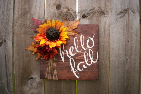 Hello Fall Sign, Fall Sign, Fall Decor, Mantle Decor, Sunflower Decor, Mantle Sign, Fall Decorations #hellofall
