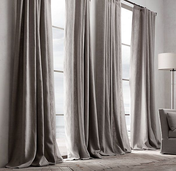 Awesome Black Curtain For Bedroom Restoration Hardware Belgian Textured Linen  French Pleat Drapery Pic 5