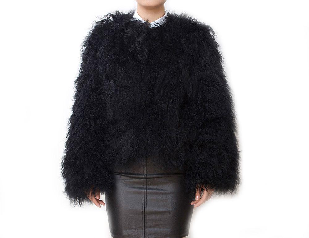 Mongolian Fur Jacket Black at Pellobello. Real mongolian lamb fur ...