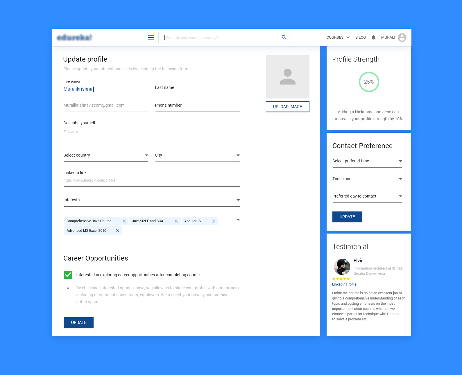 User Profile Page Design Pattern Angular Material Design Ui Ux