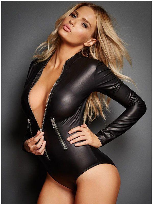 Women Faux Leather Latex Catsuit Sexy Bondage Zipper Teddy Bodysuit Stretch   Unbranded  Catsuit aa7b1d2ab