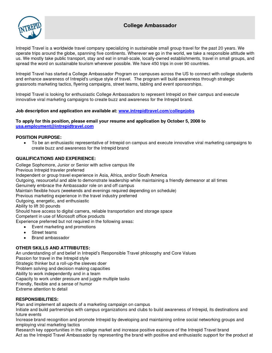 Brand Ambassador Resume Sample  Riez Sample Resumes  Riez