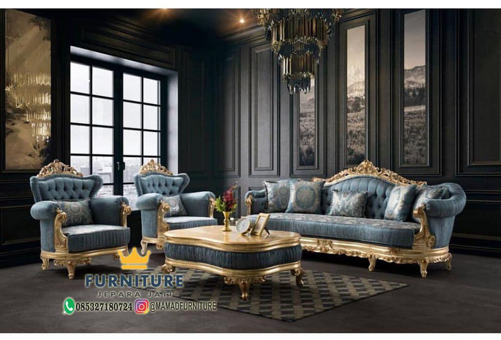 Set Sofa Ruang Tamu Blue Gold Luxury