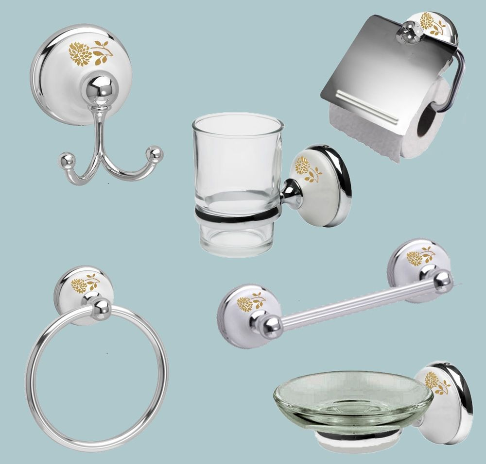 White Porcelain And Chrome Bathroom Accessories Banyo