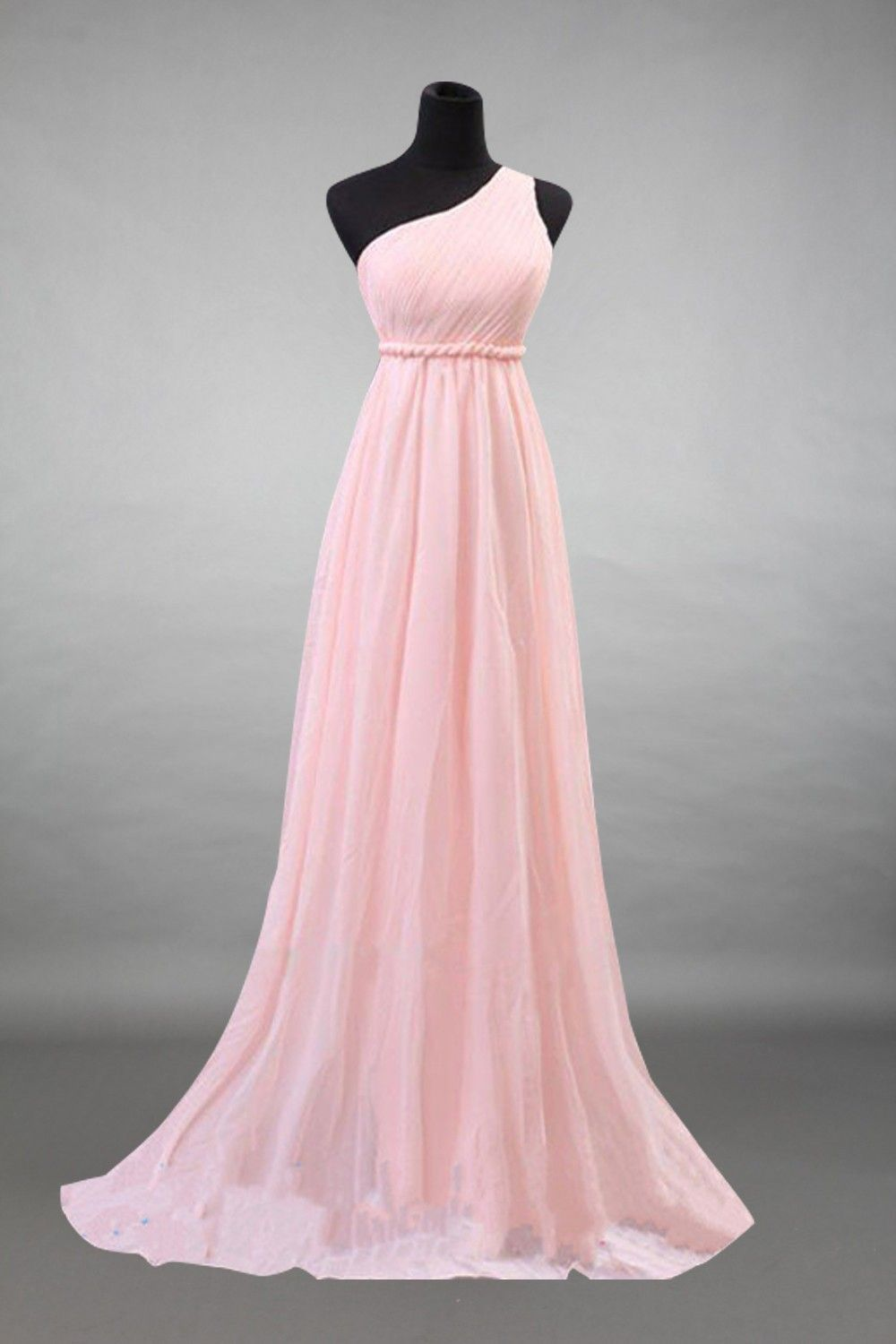 One-shoulder Baby Pink Chiffon Long Bridesmaid Dress  Kleider