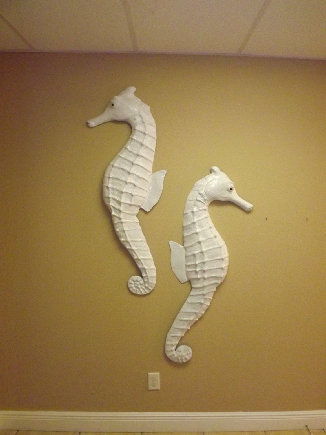 A Pair Of Extra Large, Gloss White Seahorse Replicas | Out Of The ...