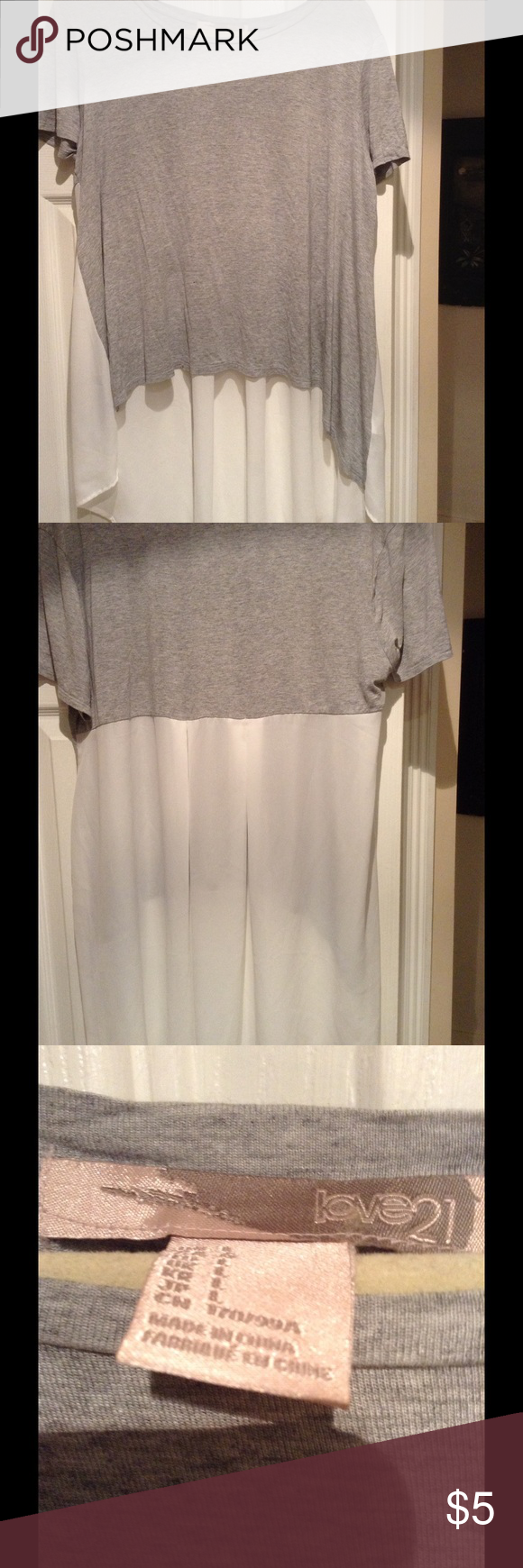 Tunic high low semi sheer back Excellent new condition. Never worn. Tags removed. Received as a gift and front is hip length. I would like it longer like the back. Tee shirt front with semi sheer back. Love 21 Tops Tunics
