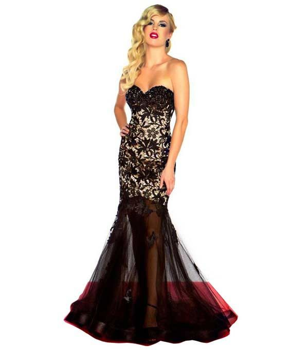 Black lace mermaid style prom dress | fashion | Pinterest | Prom ...
