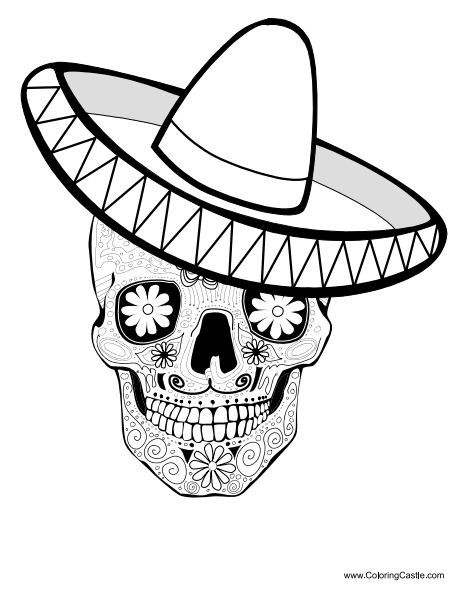 Sugar Skull Coloring Pages to Print Free | http://www.coloringcastle ...