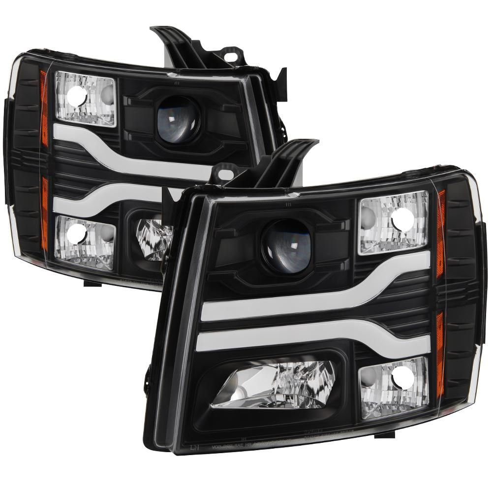 07-13 Chevy Silverado 1500 2500HD 3500HD Headlight LED DRL Strip Black Housing