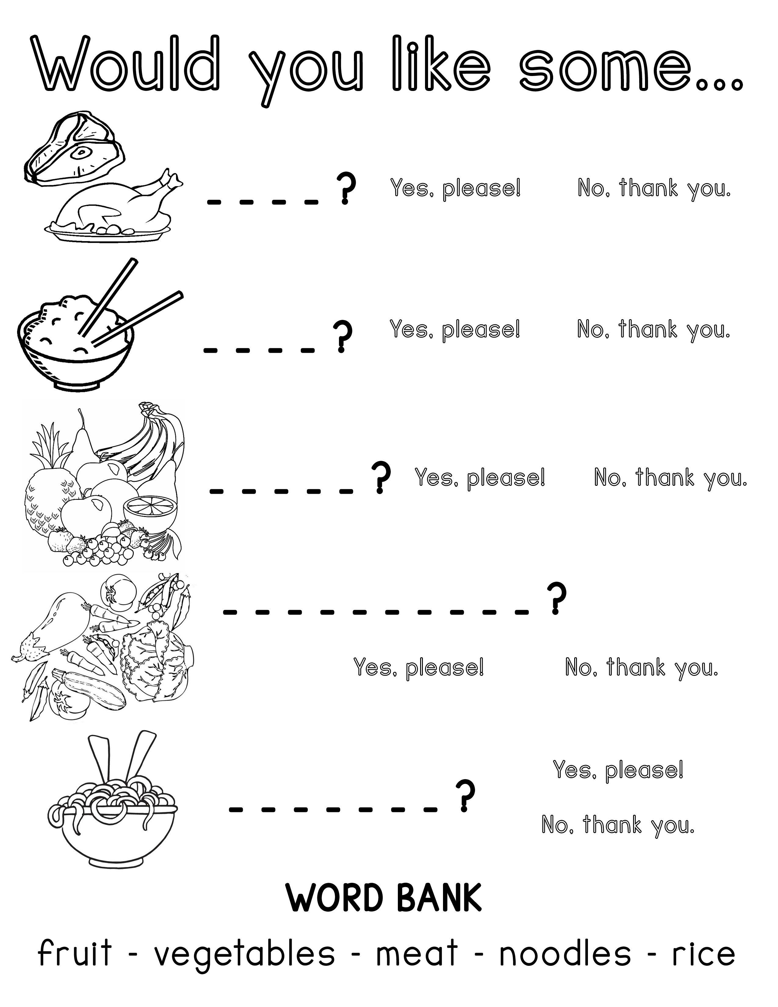 Would You Like Some Esl Food Worksheet Kindergarten Reading Worksheets Teaching English Grammar Worksheets [ 3300 x 2550 Pixel ]