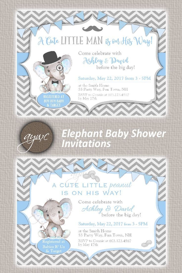 Elephant Little Man Baby Shower Invitation Boy Little Man Baby ...