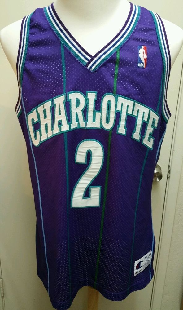 ab86a5831f5 VTG AUTHENTIC Champion NBA Jersey - Charlotte Hornets - Larry Johnson #2 -  48 #Champion #CharlotteHornets