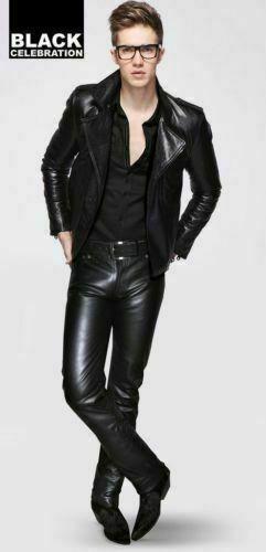 Biker Men' Black Leather Pants Motorcycle Rider Leather Swagger Pants Biker Men' #Unbranded #Fitness