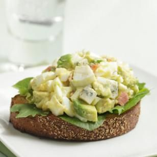 Cobb Egg Salad -- The bacon, blue cheese and avocado in this egg salad recipe make it decadent.