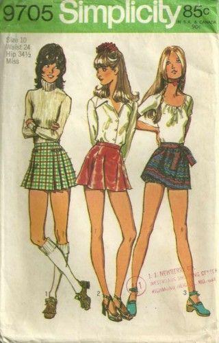 97d37d340 70s Simplicity 9705 Bloomers Micro Mini Skirts Pattern SZ 10 Waist ...