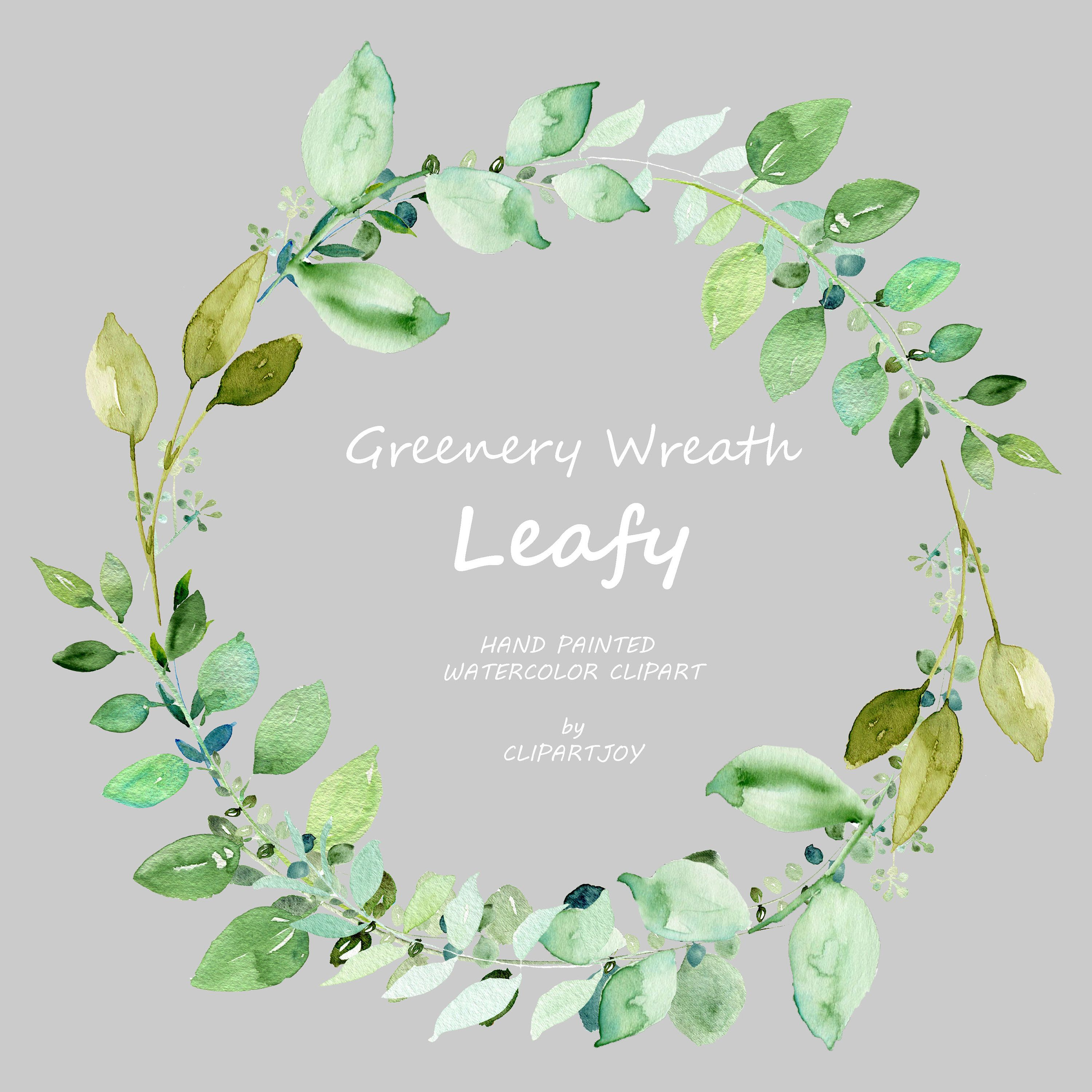 Watercolor Greenery Wreath Clipart: Handpainted Graphic | PNG | Digital Download | Commercial Use – Hand Painted Clipart (clip art)