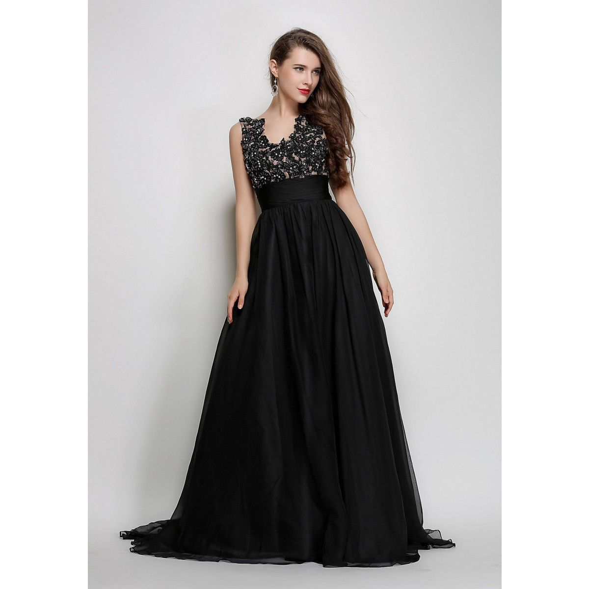 Black Long Embroidered Bodice Prom Dress Winter Formal Gown