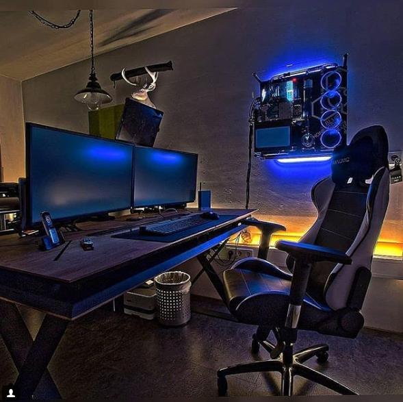 Gaming setup. Nordic. Minimalist. Blue. Design. Desk