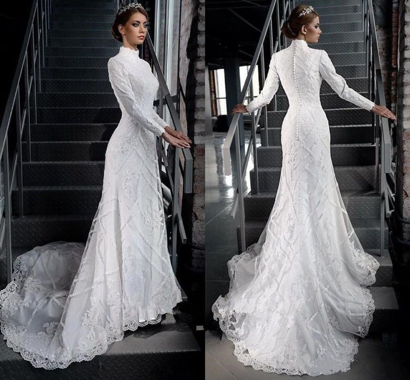 6819ab637e4d Vintage Muslim Wedding Dress High Neck Long Sleeve Bridal Gowns Sweep Train  2016